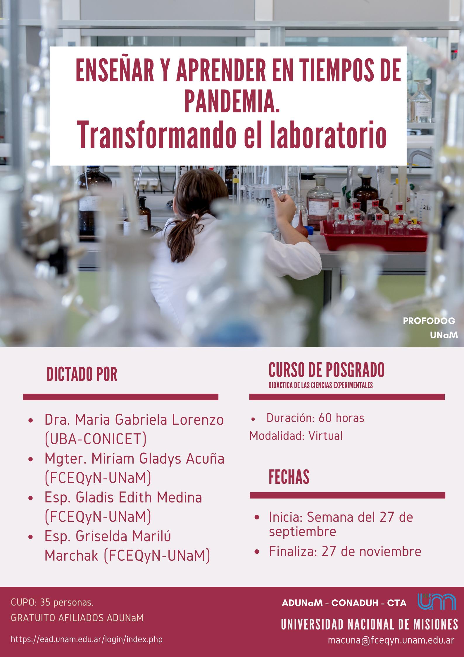 ENSEÑAR Y APRENDER EN TIEMPOS DE PANDEMIA: Transformando el Laboratorio